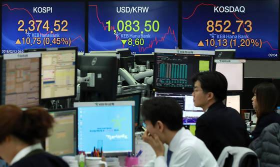 12일 오전 서울 중구 KEB하나은행 딜링룸에서 직원들이 업무를 보고 있다. 이날 코스피는 전일 대비 16.72포인트(0.71%) 오른 2380.49, 코스닥은 11.49포인트(1.36%) 오른 854.09원에 개장했다. [연합뉴스]