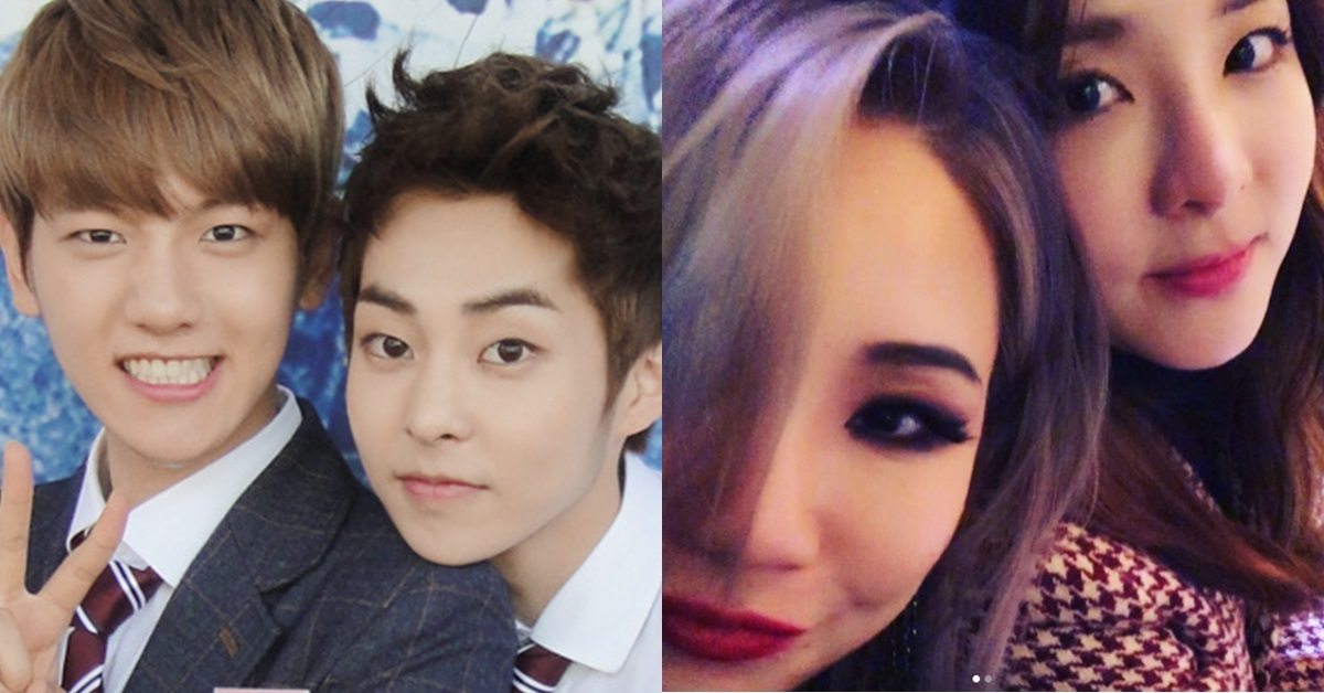 Baekhyun and Xiumin of EXO (left), and CL of 2NE1 (right)