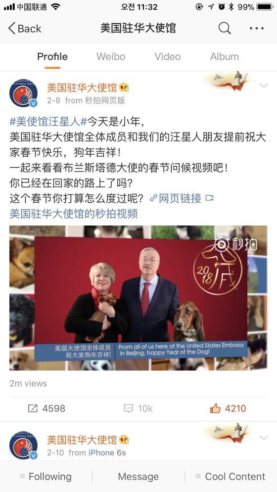 주중 미국 대사관의 웨이보에 올라온 브랜스태드 대사의 설 인사 동영상. 주가 폭락과 관련 중국 정부를 비난하는 1만여 건의 댓글이 올라온 뒤 댓글 기능이 닫혀있다. [사진=웨이보 캡처]