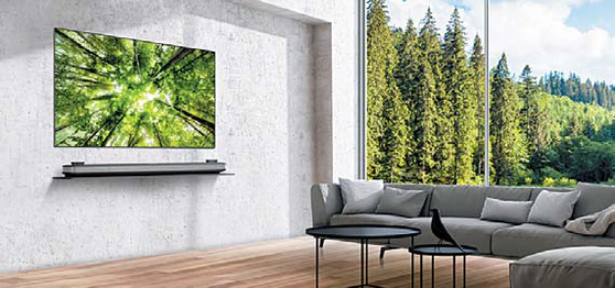 얇은 두께의 'LG 시그니처 올레드TV W'는 월페이퍼 디자인의 프리미엄 제품이다.