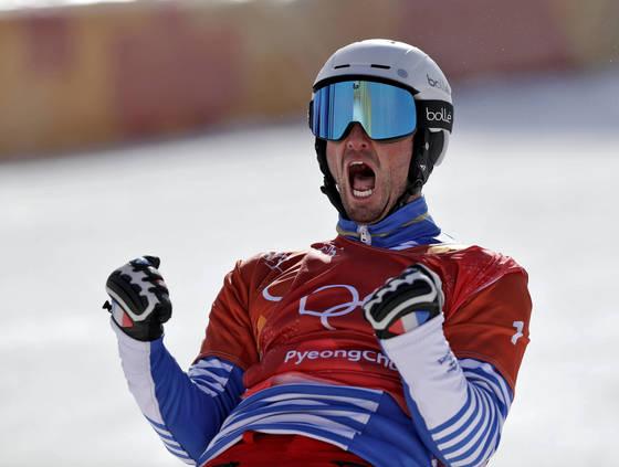 4년 전 소치 올림픽에 이어 평창에서 남자 스노보드 크로스 2연패를 이룬 피에르 볼티어. AP=연합뉴스]
