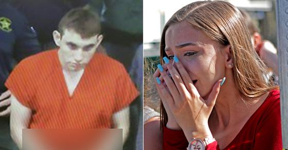 법정에 출석한 플로리다 고교 총격범 니콜라스 크루스(왼쪽)와 미 플로리다 주 총격 사건 발생한 고교의 학생이 눈물을 흘리고 있다(오른쪽) [AFP, AP=연합뉴스]