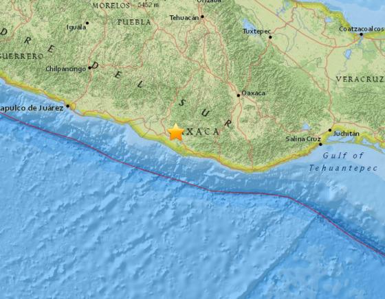 멕시코 남부에서 17일(한국시간) 오전 8시 39분 규모 7.2의 강진이 발생했다. [사진 Earthquaketrack]