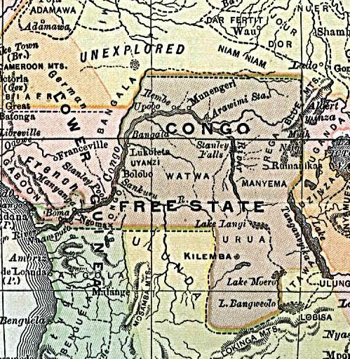 레오폴드 2세의 사유지였던 자유콩고국가의 지도.