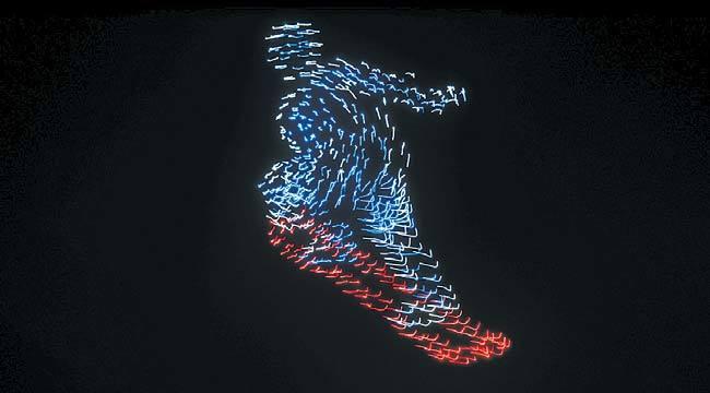 겨울올림픽 개막식이 열린 평창 하늘을 수놓은 1200여 개의 드론. [사진 인텔]