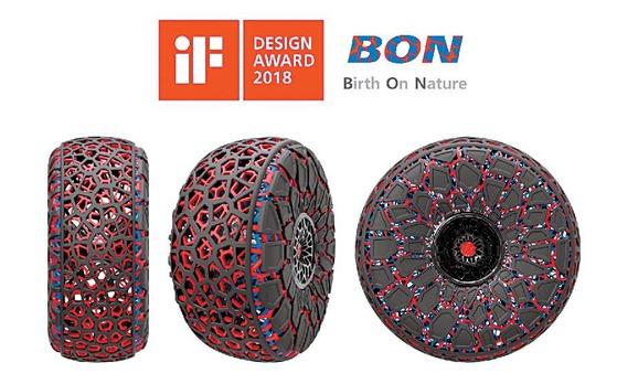 세계 3대 디자인 어워드 중 하나인 독일 'iF 디자인 어워드 2018' 콘셉트 부문에서 본상을 수상한 금호타이어의 미래 지향적 기술력을 담은 '본(BON)' 이미지. [사진 금호타이어]