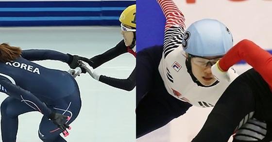 2014 소치 겨울올림픽 쇼트트랙 여자 1000m 결승에서 중국 판커신이 박승희를 방해하고 있다. (왼쪽) 2017 삿포로 동계아시안게임 쇼트트랙 여자 500m 결승에서 심석희가 앞서가던 중국 판 커신 팔에 얼굴을 맞고 있다. [연합뉴스]