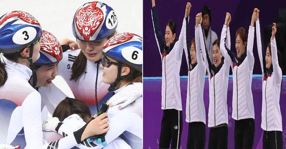 여자쇼트트랙 3000m계주에서 금메달을 딴 선수들이 경기 직후에는 얼싸안고 기쁨의 눈물을, 시상식에서는 기쁨의 웃음을 선보였다. [뉴스1, 오종택 기자]