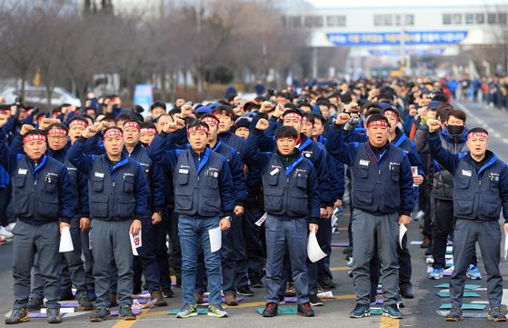 한국GM 군산공장 폐쇄 반대 집회. [중앙DB]