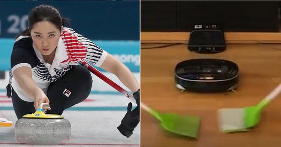 집중하는 김경애 선수(왼쪽)와 최근 온라인에 올라온 컬링 패러디 영상의 한 장면 [연합뉴스]