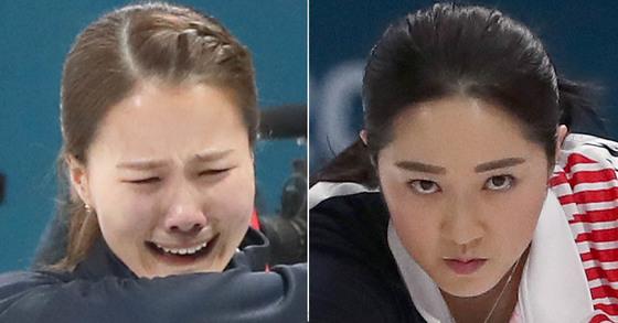 23일 일본과의 경기에서 승리 후 눈물을 보인 김은정(왼쪽)과 집중해서 스톤을 미는 김경애(오른쪽) [일간스포츠, 연합뉴스]