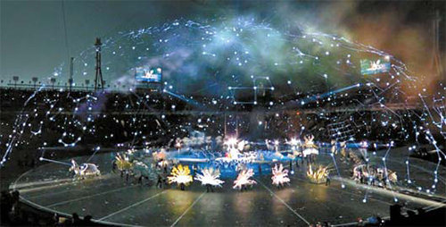 1395년 제작된 천문도 '천상열차분야지도'의 별자리를 증강현실 기술로 올림픽스타디움에 펼쳐보였다. TV 시청자들에게만 보인 장면이다. [중계화면 캡처]