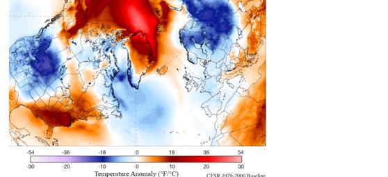 앞으로 5년간 북극 주변의 기온이 예년과 비교해 얼마나 크게 변할지 시뮬레이션을 돌려본 영상. 붉은색일수록 예년기온보다 크게 상승한다는 의미임. [자료=미 메인대]