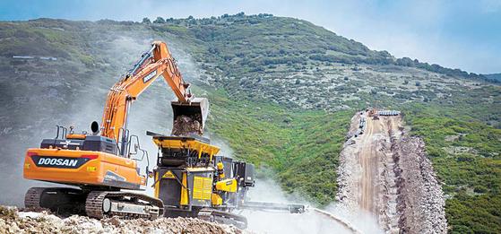 유럽 최대 가스관 건설 프로젝트 현장에서 두산인프라코어의 굴삭기가 작업을 하고 있다. 두산인프라코어는 올해부터 핵심제품군 에 역량을 집중해 영업, 제품 개발, 생산 등 전체 밸류 체인에 걸쳐 경영 효율성과 사업경쟁력을 높여나갈 계획이다 . [사진 두산그룹]