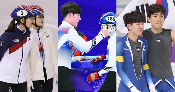 왼쪽부터 심석희, 이유빈, 김도겸, 임효준, 정재원, 이승훈. 연합뉴스, 오종택 기자
