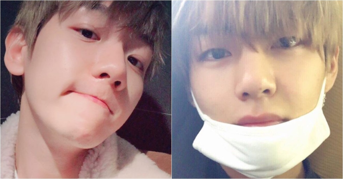 EXO's Baekhyun (left) and BTS' V. Photo from Instagram @baekhyunee_exo and Twitter @BTS_twt