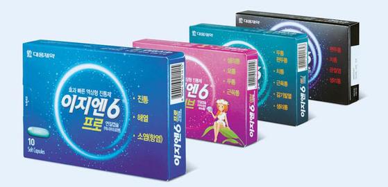 '이지엔6' 시리즈는 이지엔6 프로, 이지엔6애니, 이지엔6 이브, 이지엔6스트롱 등 성분별 라인업이 갖춰져 있다. [사진 대웅제약]