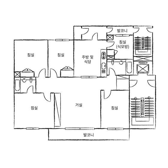 1979년 완공된 서울 압구정동 현대아파트 평면도. 주방 옆에 마련된 작은 식모방이 있다. 이들은 발코니로 이어진 별도의 출입구를 사용하기도 했다.