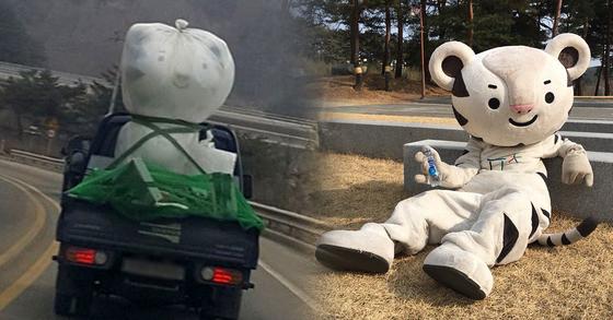 평창 겨울올림픽 폐막 후 일부 온라인 커뮤니티에는 하얀 봉지에 싸인 채 어디론가 이동되는 수호랑의 '슬픈 모습'이 올라왔다. 수호랑은 올림픽 기간 중 특유의 '잔망'스런 모습으로 시민들의 높은 인기를 끌었다. [사진 평창올림픽 인스타그램ㆍ독자 제공]