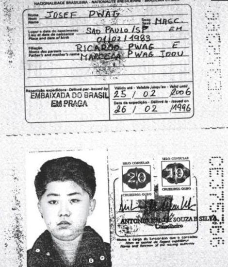 1996년 체코 프라하 브라질 대사관에서 발급된 북한 김정일 전 국방위원장 추정 여권사본. [사진 로이텨=연합뉴스]