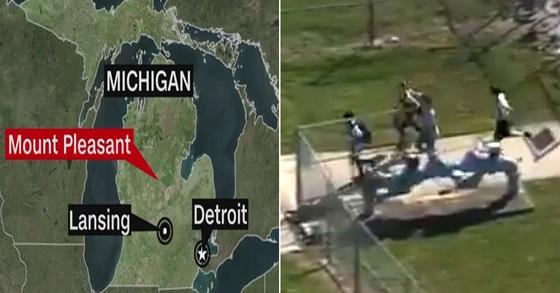 2일(현지시간) 총격 사건이 벌어진 미국 미시간주 마운트 플레전트 위치(왼쪽)와 지난 2월 14일(현지시간) 미국 플로리다주의 파크랜드의 한 고등학교에서 총격 사건이 발생 당시 모습 [사진 CNN, CBSNews 캡처]