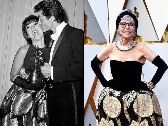 리타 모레노가 1962년 아카데미 시상식에서 조지 채크리스의 키스를 받고 있다(왼쪽 사진). 모레노는 56년 전 입었던 것과 같은 드레스를 입고 아카데미 시상식에 참석했다. [AP=연합뉴스]