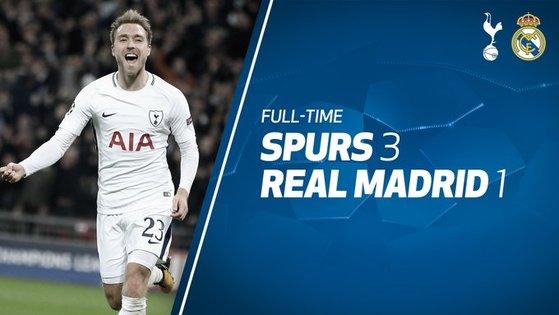 토트넘이 2일 유럽 챔피언스리그에서 강호 레알 마드리드를 3-1로 꺾었다. 왼쪽은 세번째 골을 뽑아낸 토트넘의 에릭센. [사진 토트넘 트위터]