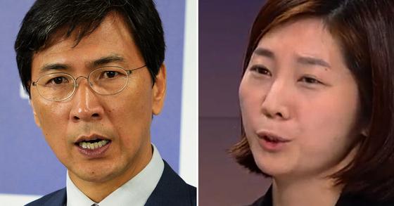 안희정 전 충남지사(左)ㆍ공보비서 김지은씨(右). [중앙포토ㆍJTBC]