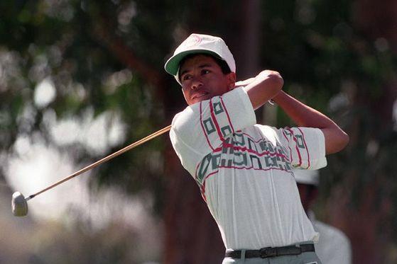 1992년 리비에라에서 열린 대회에 참가한 타이거 우즈. [중앙포토]
