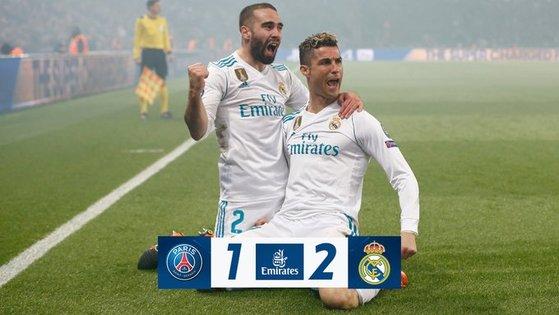 레알 마드리드 공격수 호날두(오른쪽)가 7일 파리생제르맹과 유럽 챔피언스리그 경기에서 골을 터트려 2-1 승리를 이끌었다. [레알 마드리드 트위터]