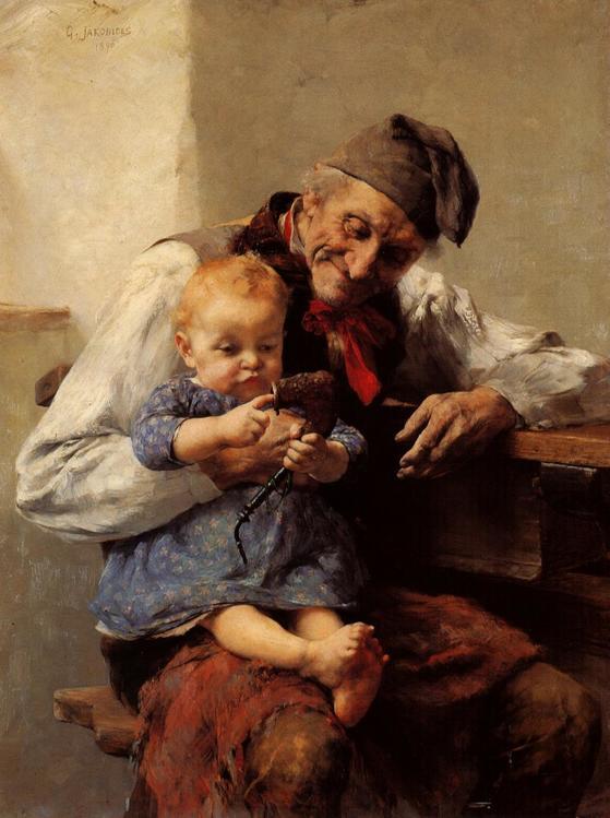 '소중한 사이, 할아버지와 손자'. 그리스 화가 게오르기오스 야코비데스(Georgios Jakobides)의 1890년 작품. 할아버지와 손주는 특별한 관계를 맺는다. [중앙포토]