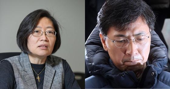이수정 경기대 범죄심리학과 교수(왼쪽), 안희정 전 충남도지사. 신인섭 기자, 최정동 기자.