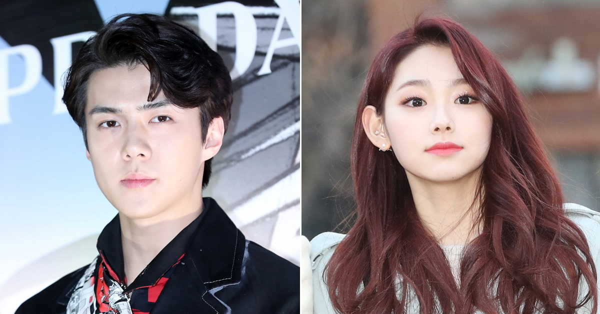 EXO's Sehun(left) and Gugudan's Mina. Photo from Ilgan Sports and News1