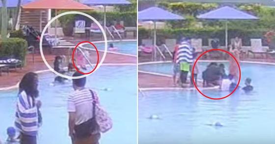 장(5)양(분홍색 수영복)이 혼자 성인용 수영장으로 들어가는 모습(왼쪽)과 구조된 장양을 부모가 인공호흡하는 모습(오른쪽) [동아일보 유튜브 캡처]
