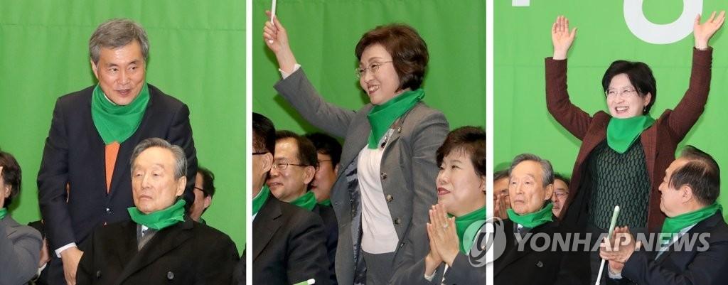 바른미래당 비례대표 이상돈(왼쪽부터)·장정숙·박주현 의원이 지난달 6일 민주평화당 창당대회에 참석한 모습. [연합뉴스]