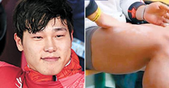 평창겨울올림픽에서 스켈레톤 금메달을 딴 윤성빈 선수(왼쪽)는 스쿼트 무게를 240㎏까지 늘리는 강훈련으로 허벅지 둘레가 69cm에 달하는 것으로 전해졌다(오른쪽). [중앙포토, SBS 화면 캡처]