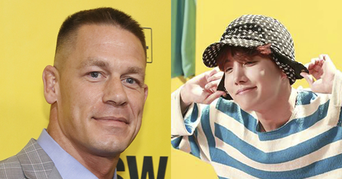 John Cena(left) and J-Hope of BTS. Photo from AP and BTS' Facebook