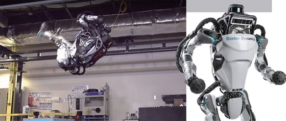 로봇 기업 보스턴다이내믹스가 개발 중인 인간형 로봇 '아틀라스(Atlas)'는 최신 버전이 지난해 11월 고난도 체조 동작인 '백플립(backflip)'을 세계 최초로 구현했을 만큼 뛰어난 운동능력을 가졌다. / 사진:보스턴다이내믹스