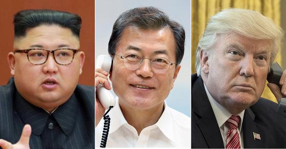 김정은 북한 노동당 위원장(왼쪽부터) 문재인 대통령, 도널드 트럼프 미국 대통령. [중앙포토]