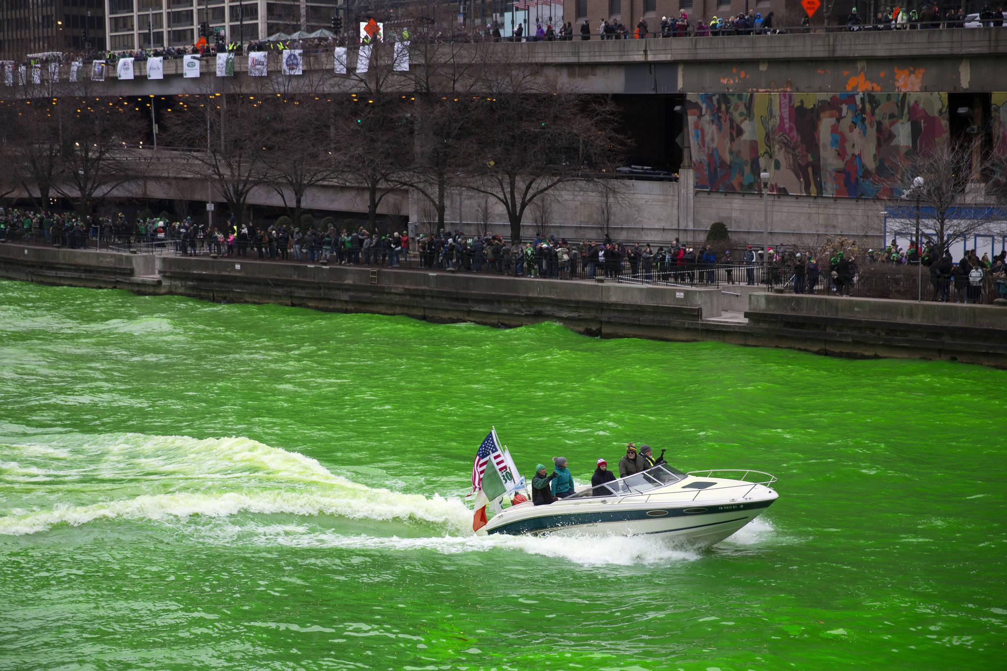 성 패트릭 데이인 17일(현지시간) 미국 시카고강이 녹색으로 물들어 있다. [AP=연합뉴스]