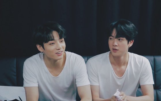 Jungkook (left) and Jin (right)