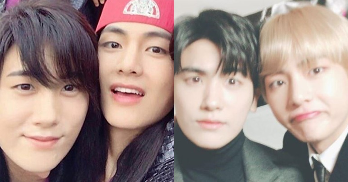 Park Hyung-sik (left) and V (right) on the set of Hwarang