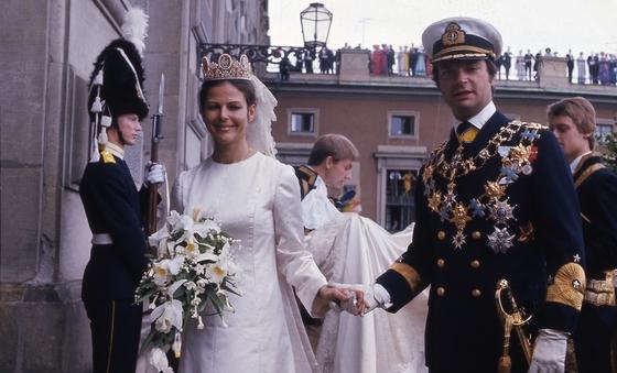 1976년 스웨덴 국왕 칼 구스타프 16세와 실비아 조머라트와의 결혼식 모습. [중앙포토]