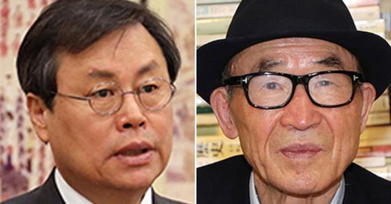 도종환 문화체육관광부 장관(왼쪽)과 고은 시인(오른쪽) [뉴스1, 중앙포토]