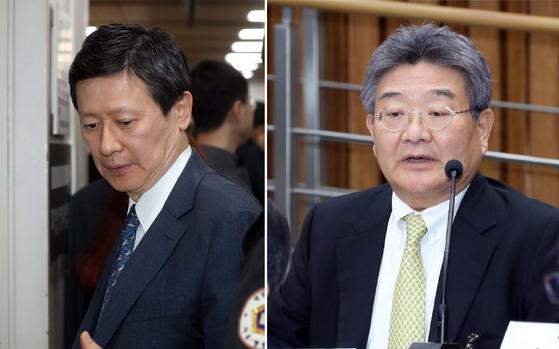 신동주(왼쪽) 전 롯데홀딩스 부회장과 민유성 나무코프 대표. [중앙포토]