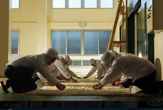이시모토 주조 직원들이 사케의 원료가 되는 누룩을 만들고 있다. [사진 이시모토 주조]