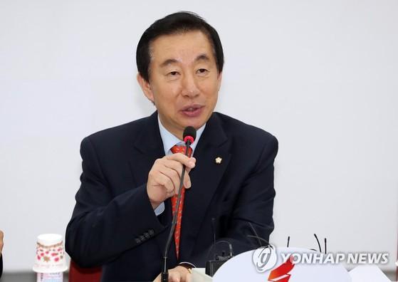 자유한국당 김성태 원내대표가 22일 오후 국회에서 취임 100일 기자간담회를 하고 있다