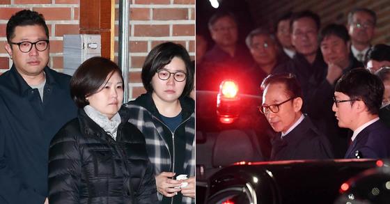 23일 이명박 전 대통령이 서울 논현동 자택에서 서울동부구치소로 향하자 이 전 대통령의 아들 이시형씨(맨 왼쪽)를 비롯한 가족들이 눈물을 흘리고 있다. [뉴스1ㆍ사진공동취재단]