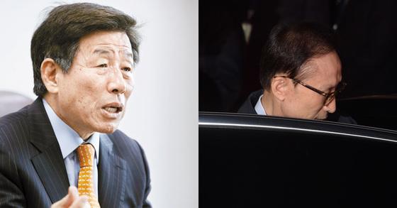 유인태 전 의원(왼쪽)과 구치소로 향하는 이명박 전 대통령의 모습 [중앙포토?뉴스1]