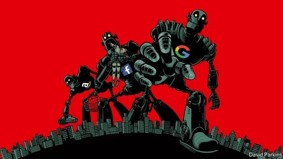 2018년 1월18일자 이코노미스트 커버 사진. 아마존·구글·페이스북을 시장을 집어삼키는 '타이탄(거인)'으로 묘사했다. [이코노미스트]